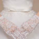 Floral Lace Party Gloves White