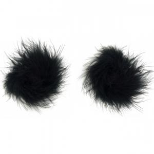 feather nipple pasties black