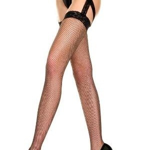Music Legs Hosiery Fishnet Lace Top Garterbelt Stockings with attached lace criss cross