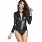 Leather Look Long Sleeve Bodysuit