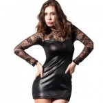 Long Sleeve Lace and Leather Dress Small