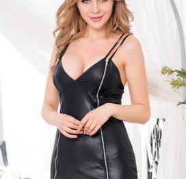 Leather Look Zip Dress