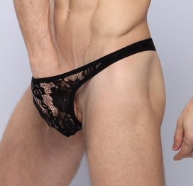 Men's Black Lace G-String