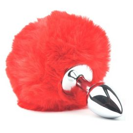 red fluffy metal butt plug