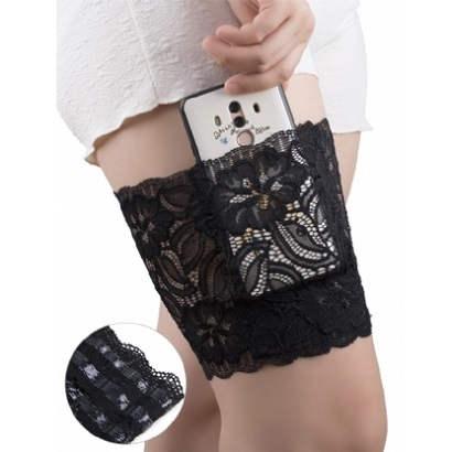 black lace garter with valuables pocket