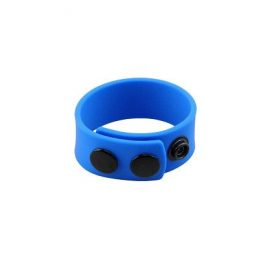 blue love in leather silicone cockring