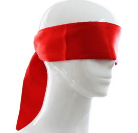 red silky sash blindfold