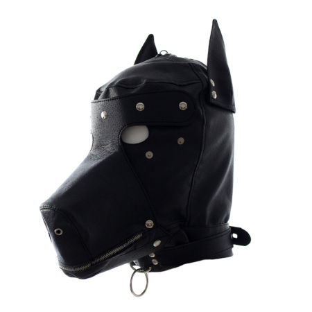bondage dog mask with snout and ears