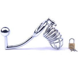 metal chastity cage with anal hook
