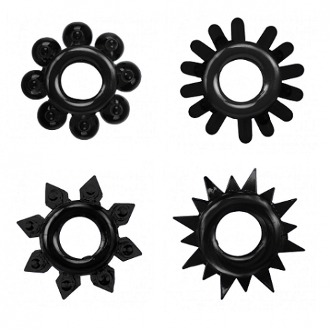 performance cock ring four pack black