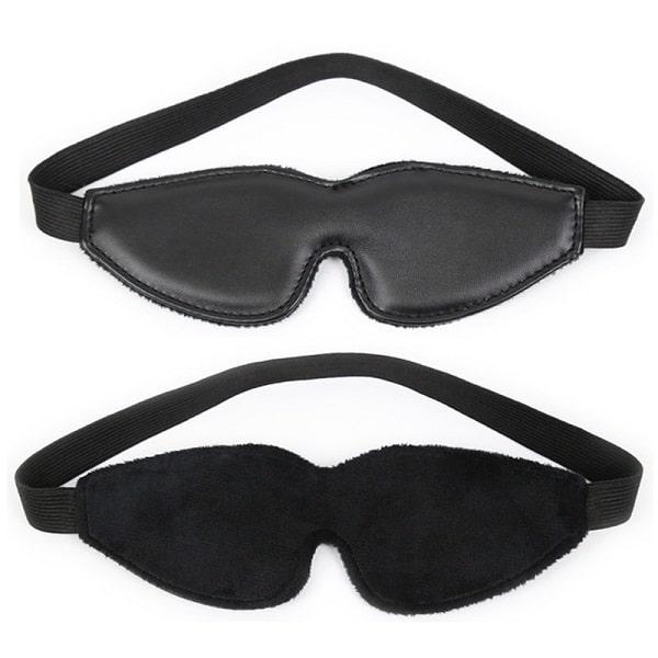 all black plush lined blindfold