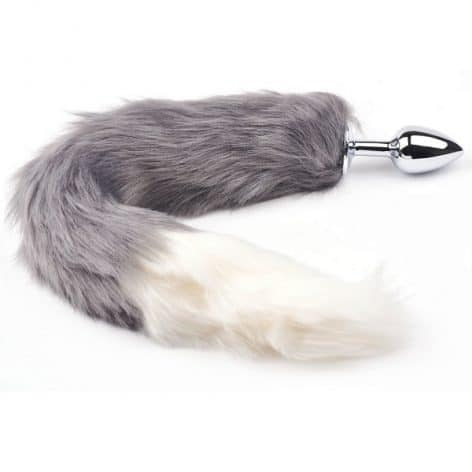 small grey fox tail plug